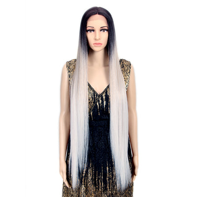 Synthetic Lace Front Wigs | 38 inch Super Long Straight Lace Wig Preplucked | Ombre Grey  Wig - Noblehair