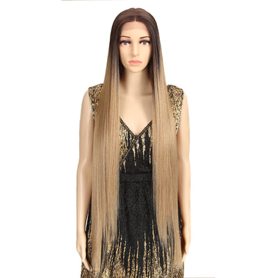 NOBLE Synthetic Lace Front Wigs | 38 inch Super Long Straight Lace Wig | Ombre Brown Wig - Noblehair