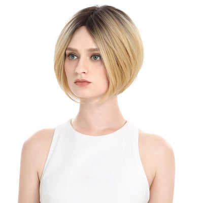 4.5*5.5 Mono Lace Wig | 9 Inch Short Straight Bob | Ombre Blonde | Elie by Noble - Noblehair