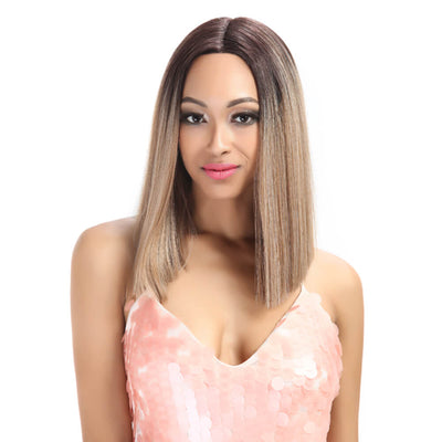 Shakia丨Synthetic Lace Front Wigs 14 Inch Middle Part Over Shoulder Blunt Cut Bob wig丨Brown - Noblehair