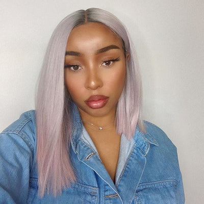 Synthetic Lace Front Wig | 13.5 Inch Blunt Cut Bob | Pastel Pink| Shakia by Noble - Noblehair