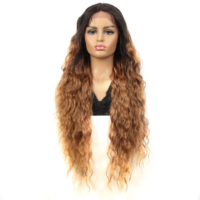 Synthetic Long Curly Lace Front Wigs for Women|32 inch Deep Wave Wig| Ombre Blonde| SOTO by NOBLE - Noblehair