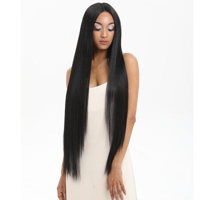 Synthetic Lace Front Wigs | 38 inch Super Long Straight Lace Wig Preplucked | Black  Wig - Noblehair
