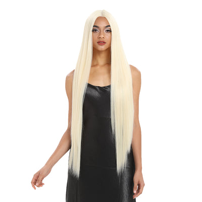 Synthetic HD Lace Front Wigs | 38 inch Super Long Straight Lace Wig Preplucked | 613 White Blonde Wig - Noblehair