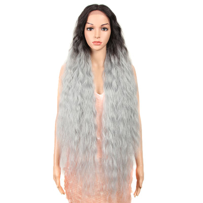 Bohemian丨Synthetic Lace Front Wigs丨41 Inch Super Long Wavy Grey Wig by Noble - Noblehair