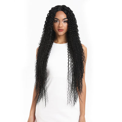 NOBLE Synthetic Lace Front Wig |  38 Inch Long Naturally Curly | Natural Black | Super L-Curl - Noblehair