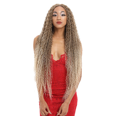 Synthetic Lace Front Wig | 38 Inch Long Naturally Curly | Brown to Blond | Super L-Curl by Noble - Noblehair