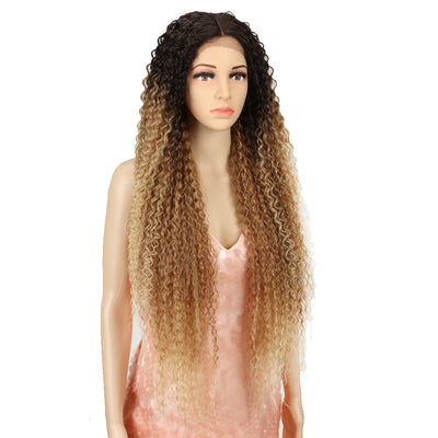 Synthetic Lace Front Wig |  38 Inch Long Naturally Curly | Ombre Blonde | Super L-Curl by Noble - Noblehair
