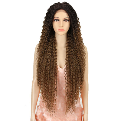 Synthetic Lace Front Wig |  38 Inch Long Naturally Curly | Ombre Brown | Super L-Curl by Noble - Noblehair
