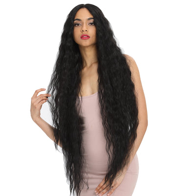 Bohemian丨Synthetic  Water Wave Long Kinky Straight Curly Wavy Lace Front Wigs丨41 Inch Super Long Wavy Black Wig by Noble - Noblehair