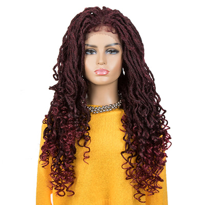 ASHA |Synthetic 4*4 Lace Frontal Passion Twist Wig|24 inch Goddess Wig| Ombre Red - Noblehair