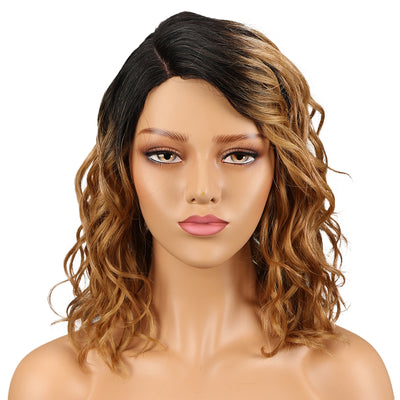 Human Hair Lace Wig | 14 Inch Curly Lob | Ombre Color | Christy by Noble - Noblehair