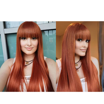 Synthetic Non Lace Wig | 32 Inch long straight Wigs with Bangs | Auburn Color Wig JOYO by NOBLE - Noblehair