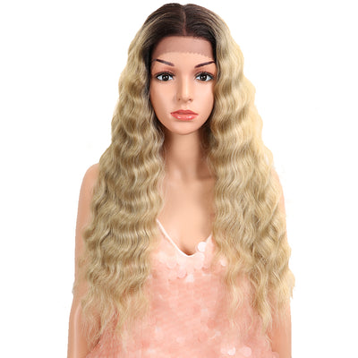 13*4 Synthetic Lace Frontal Wigs | 26.5 Inch Curly Wave Ash Blonde Wig | Willow by Noble - Noblehair