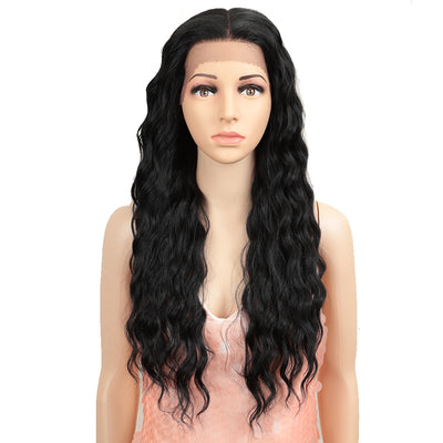 13*4 Synthetic Lace Frontal Wigs | 26.5 Inch Curly Wave Black Wig | Willow by Noble - Noblehair