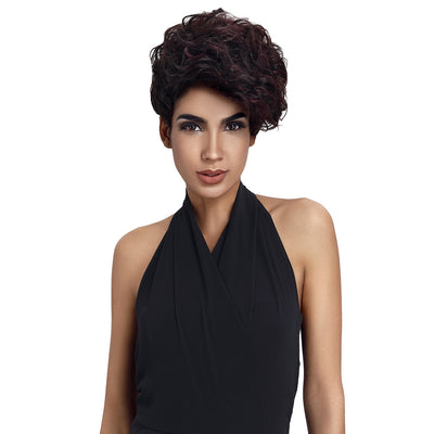 Human Hair Wig | 10 Inch Short Curly Pixie | Highlight Color | Amna by Noble - Noblehair
