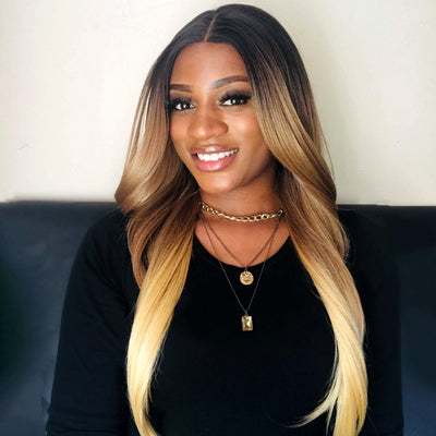 Easy 360 Synthetic Lace Front Wig | 28 Inch Long Straight | Honey Blonde| Agatha by Noble - Noblehair
