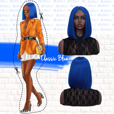 Synthetic Lace Front Wig | 11 Inch  Colorful Bob | Classic Blue | L Alia By Noble - Noblehair