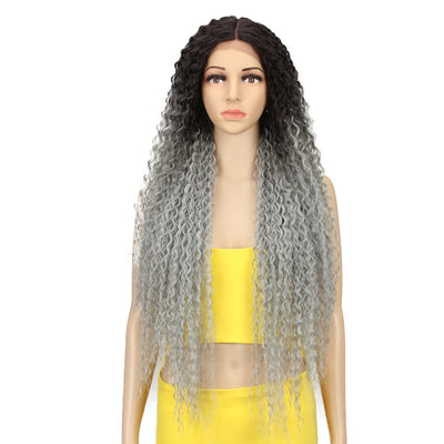 NOBLE Synthetic Lace Front Wig |  38 Inch Long Naturally Curly | Ombre Brown | Super L-Curl - Noblehair