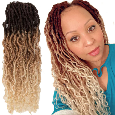 Noble Pre-Looped Passion Twist Hair | 20 inch Faux Locs Afro Braiding Hair Extensions with Curly Ends | Ombre Blonde BOHO HIPPLE - Noblehair