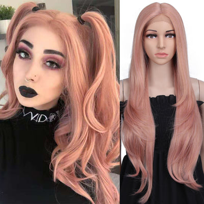 "NOBLE Cida Synthetic 6"" Middle Part Lace Front Wigs丨31 Inch long straight Rose Pink Wig - Noblehair"