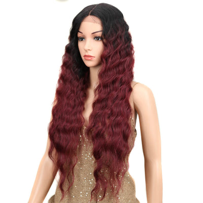 Gianna丨Synthetic Lace Front Wigs For Black Women丨31 Inch Long Wavy Wig丨Ombre Red by Noble - Noblehair