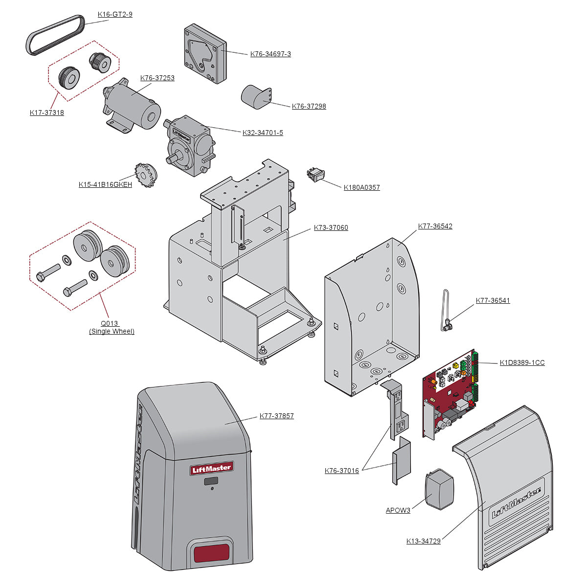 Liftmaster Elite RSL12-UL Parts Diagram
