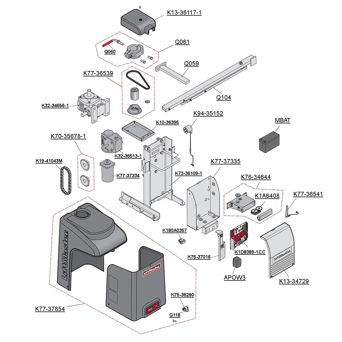 Liftmaster Elite RSW12-UL Parts Diagram