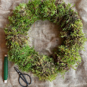 Hessian wrapped moss bundle, wire and rings