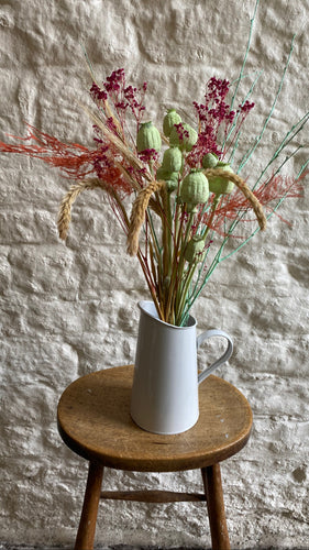 Bright Poppy, Fern and Salix Bouquet