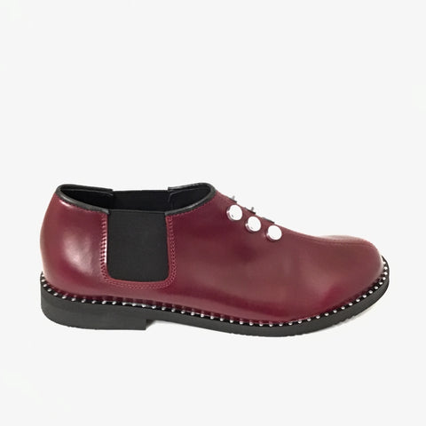 Luccini Wine Slip On with Silver Studs