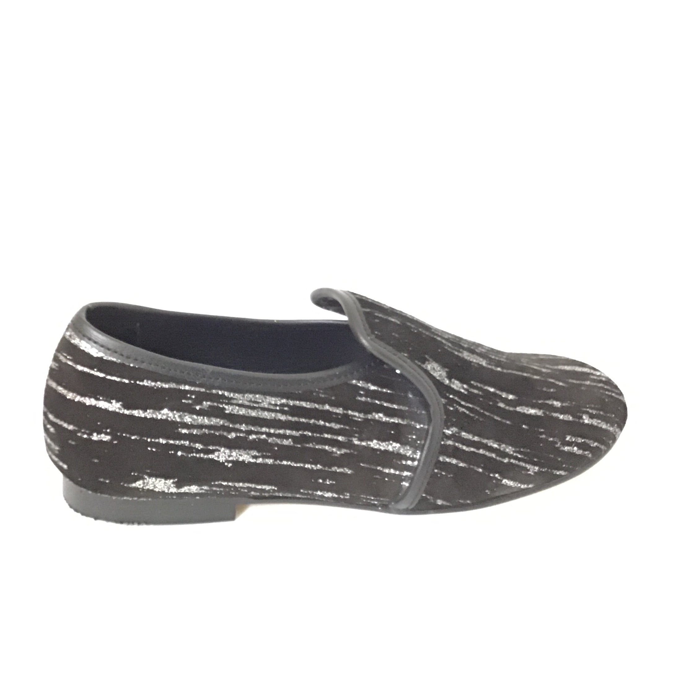 Luccini Black Suede Slip On with Silver Streaks