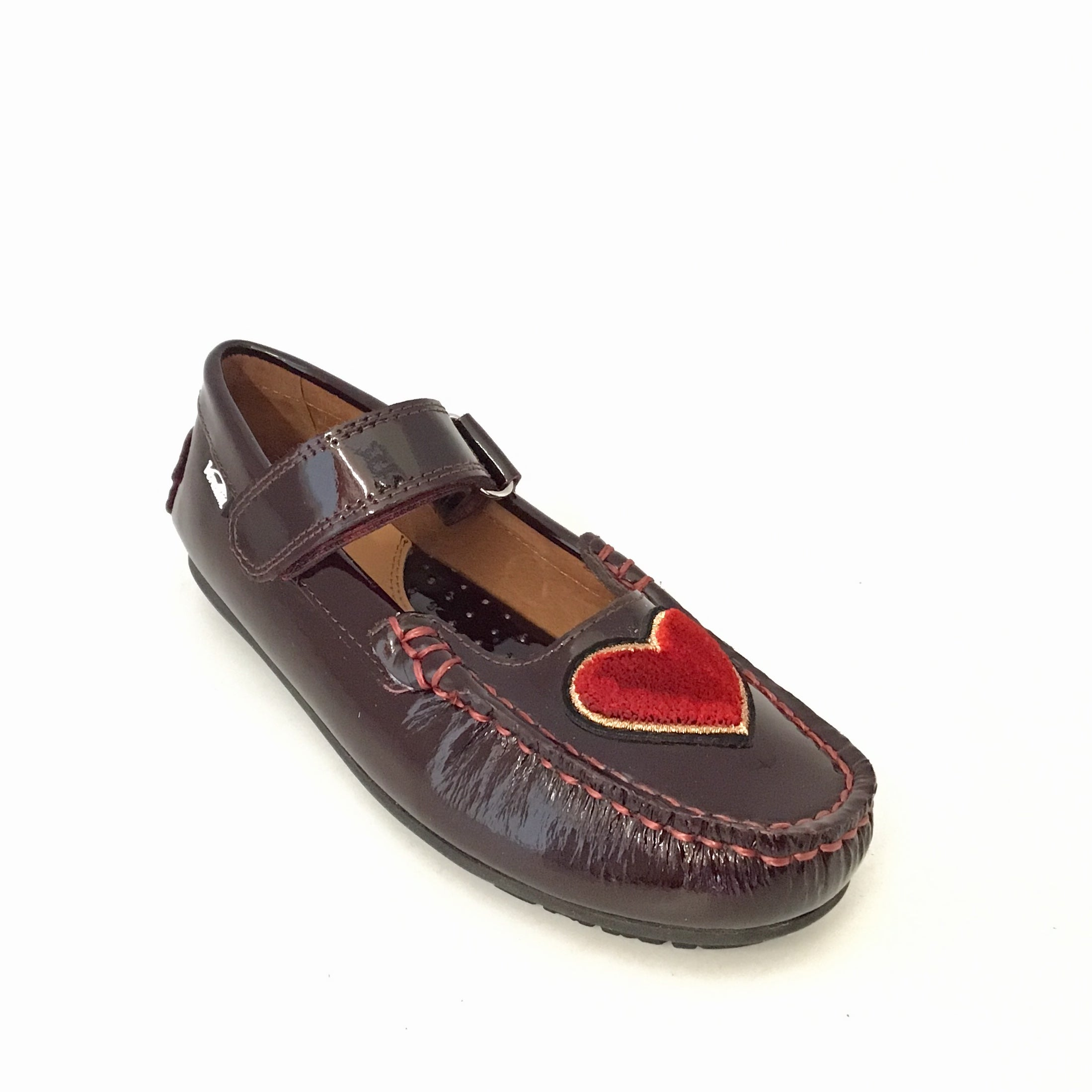 Venettini Bordeaux Patent Velcro Shoe with Heart