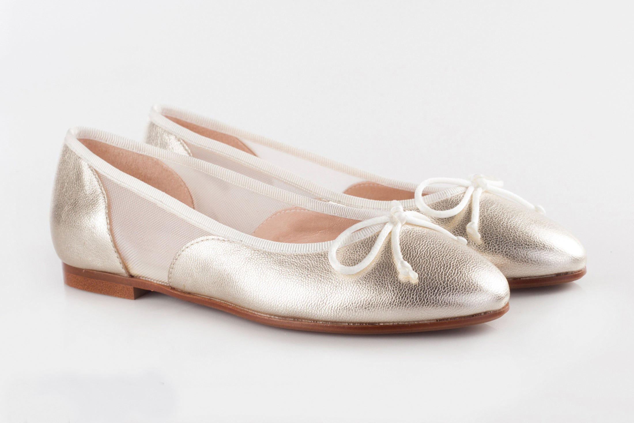 Beberlis Gold Metallic Ballet Flat with Mesh