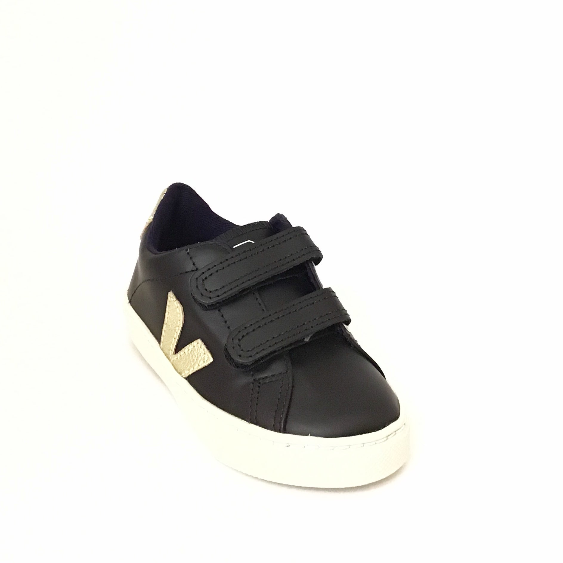 Veja Black Sneaker with Gold Trim