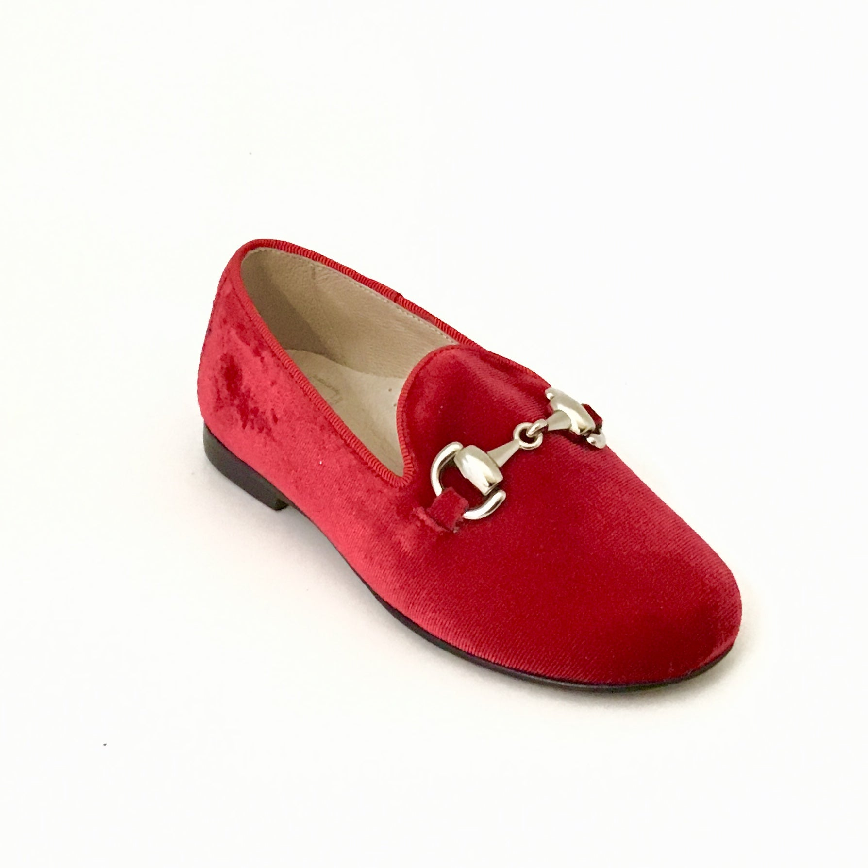 Hoo Red Velvet Chain Slip On