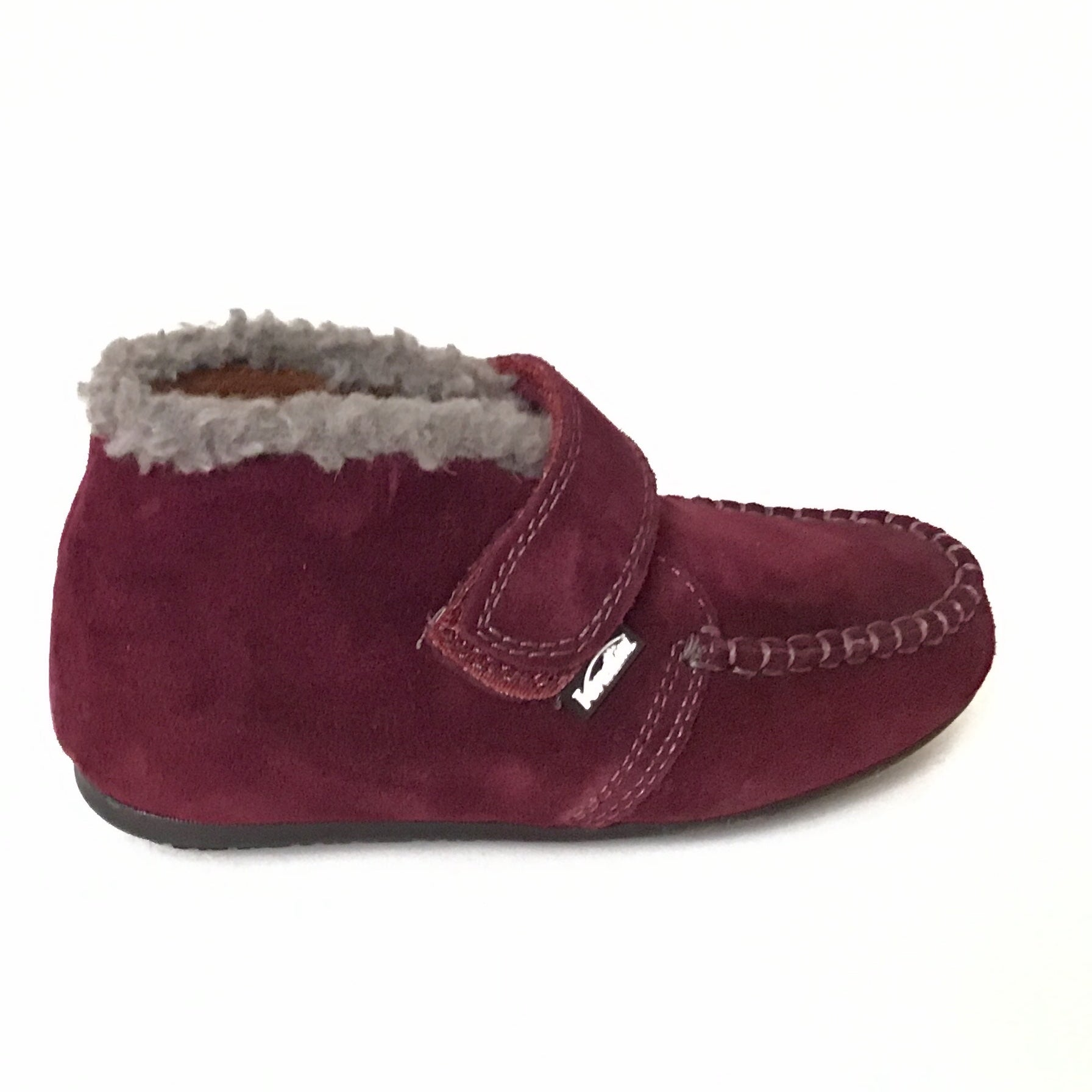 Venettini Bordeaux Suede Bootie With Gray Wool Trim