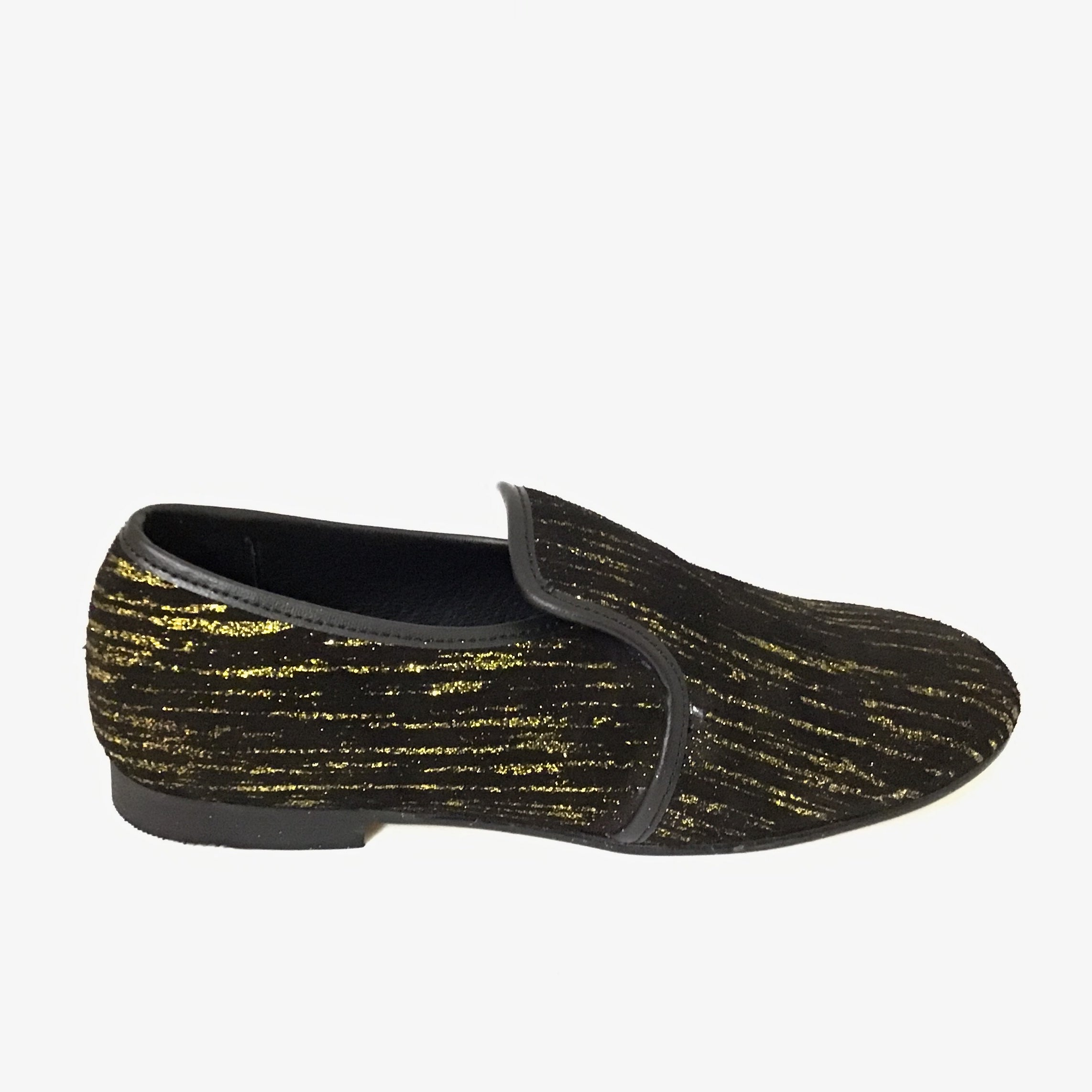 Luccini Black Suede Slip On with Gold Streaks