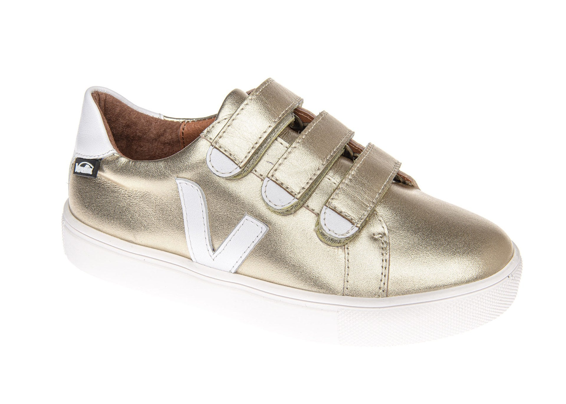 Venettini Gold Triple Buckle Sneaker with White V