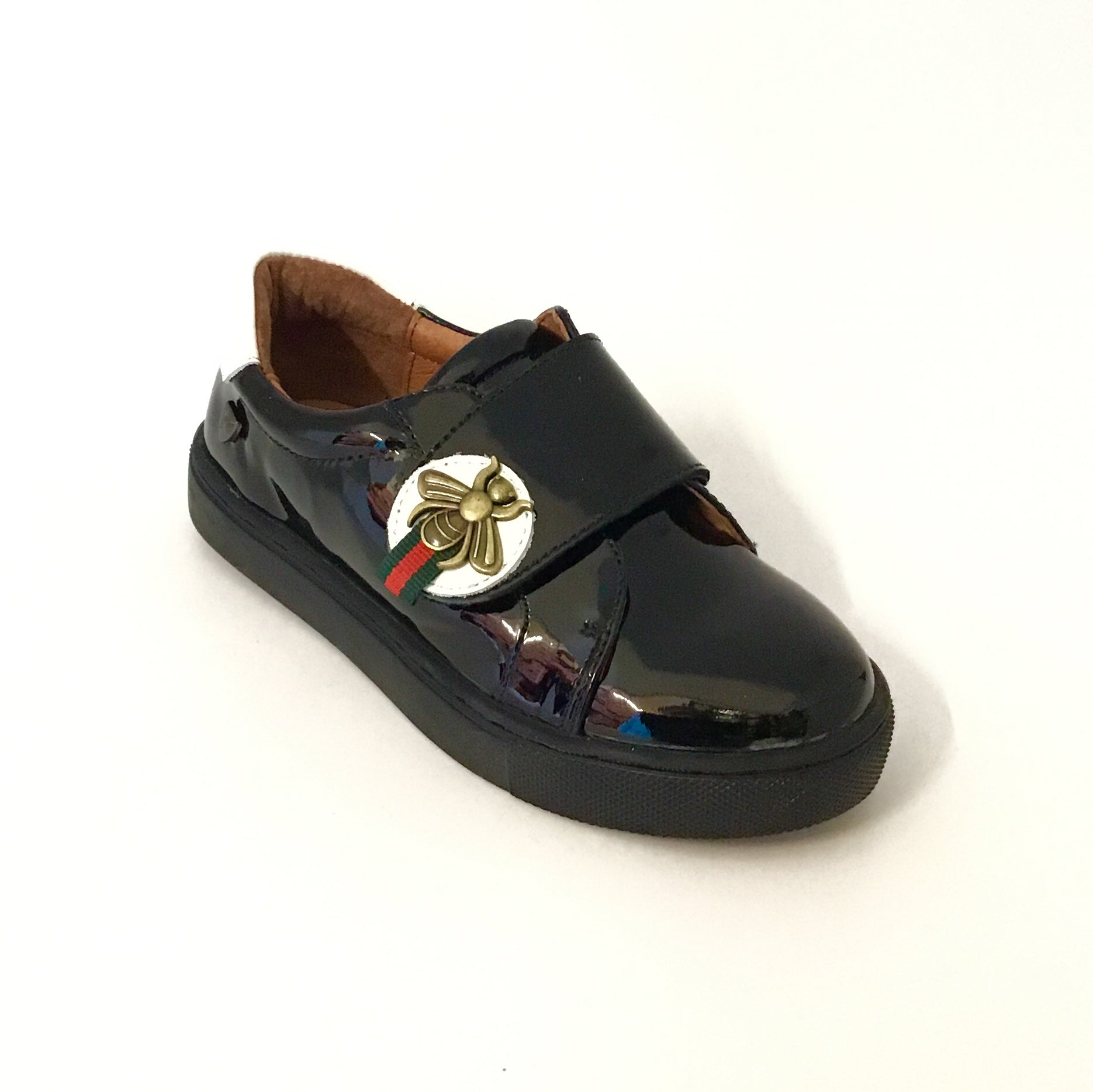 Venettini Black Patent with Bee Strap