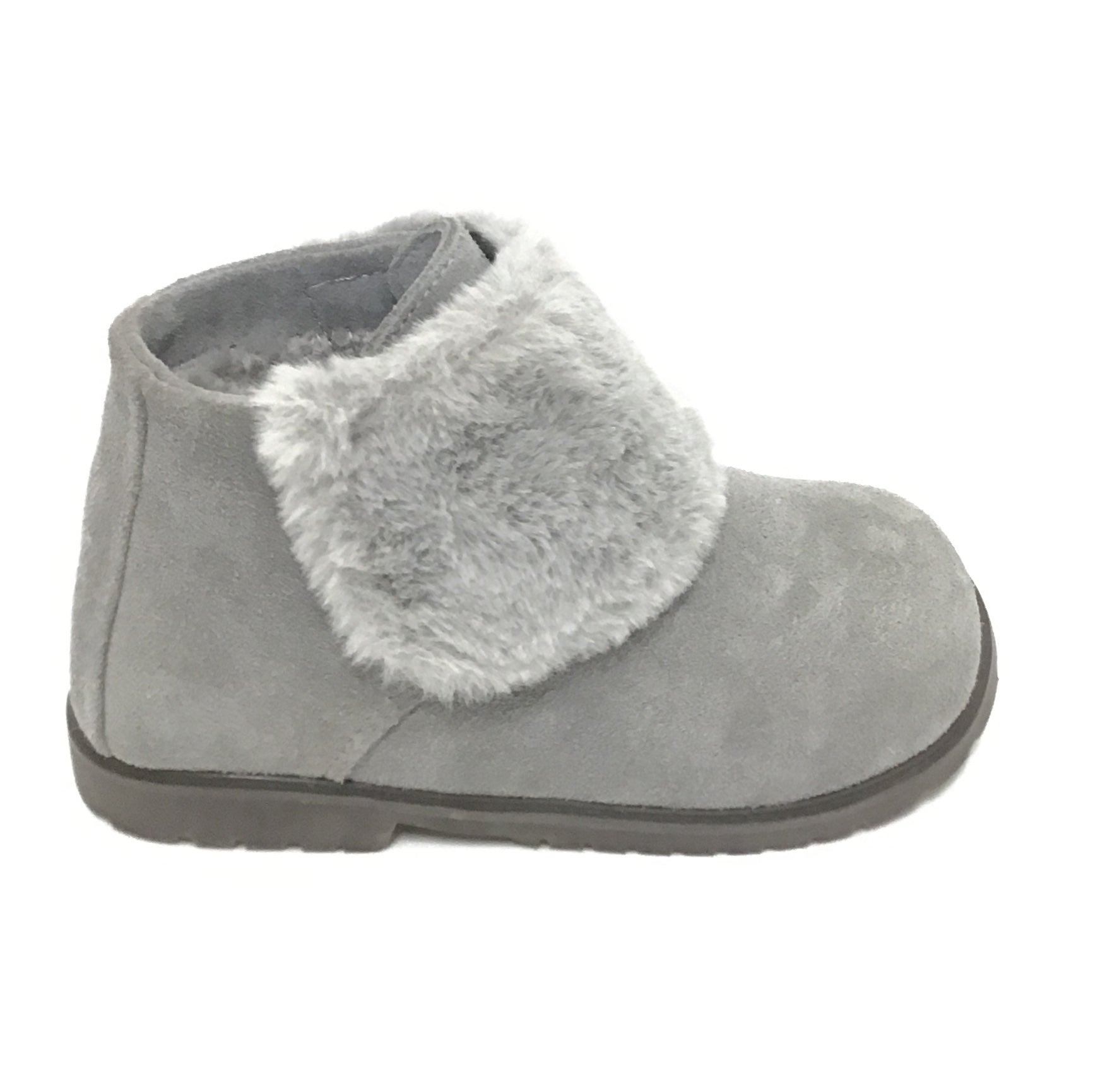 Age of Innocence Gray Suede Bootie With Fur