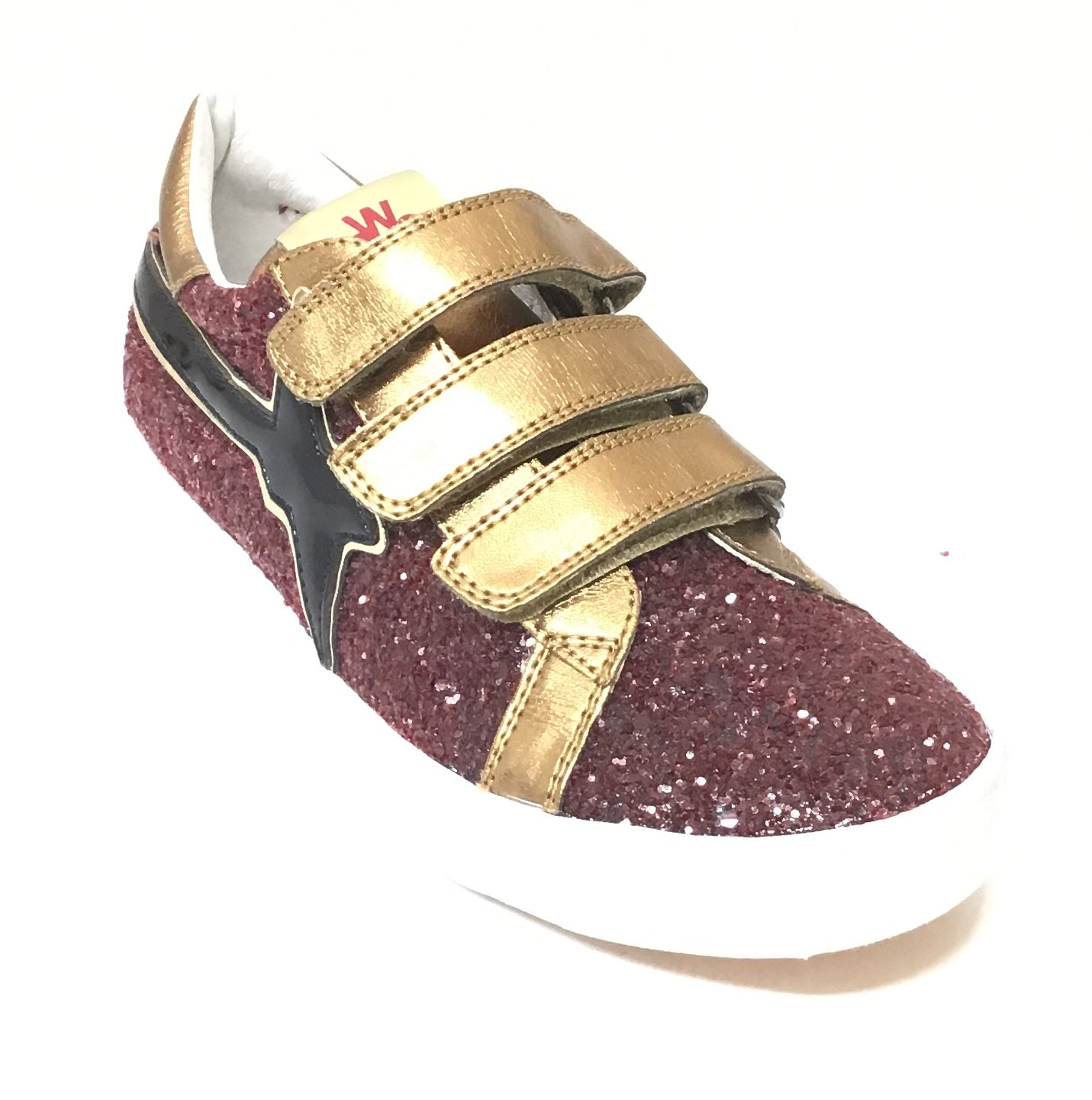 Naturino Red Glitter Shoe with Black Design