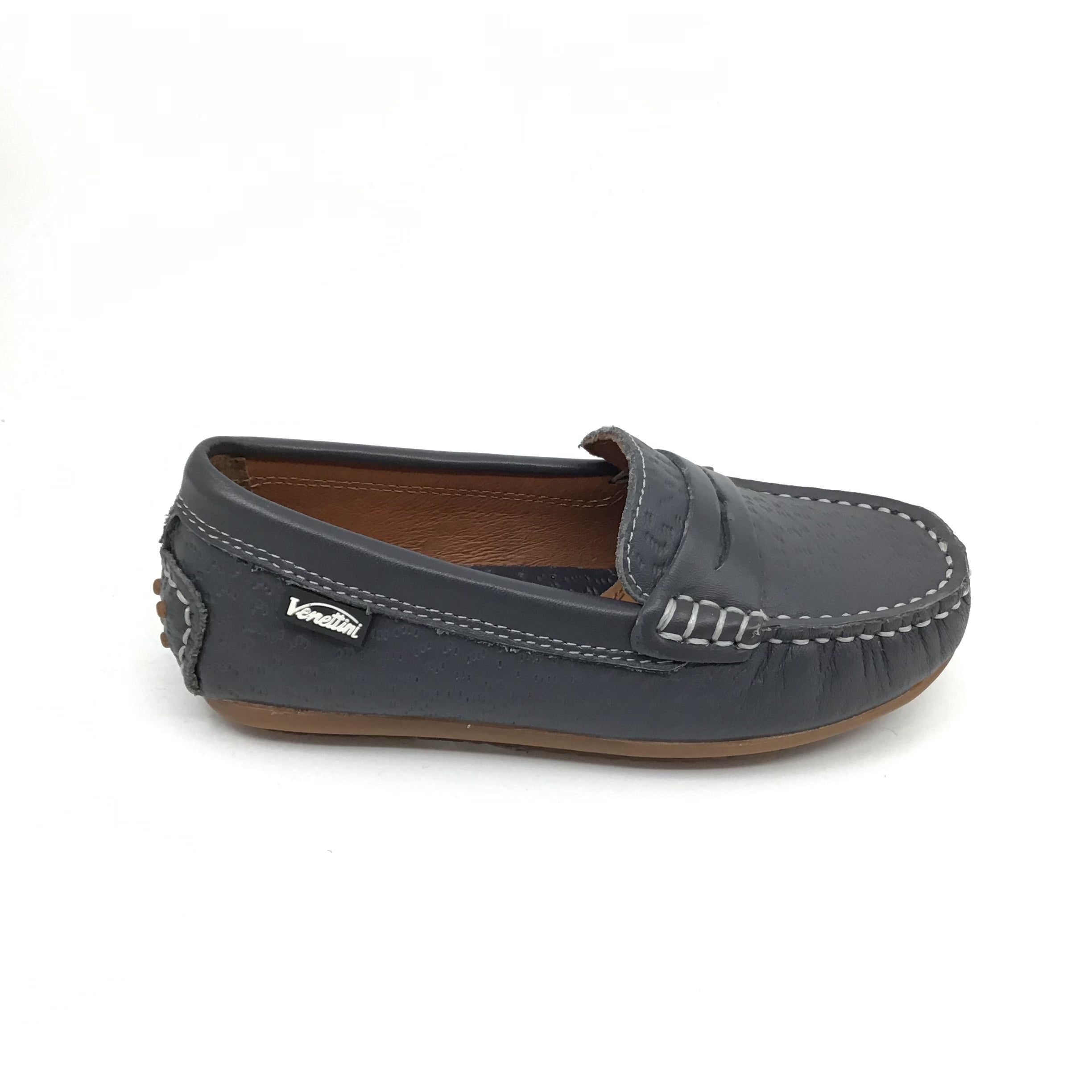 Venettini Gray Textured Penny Loafer