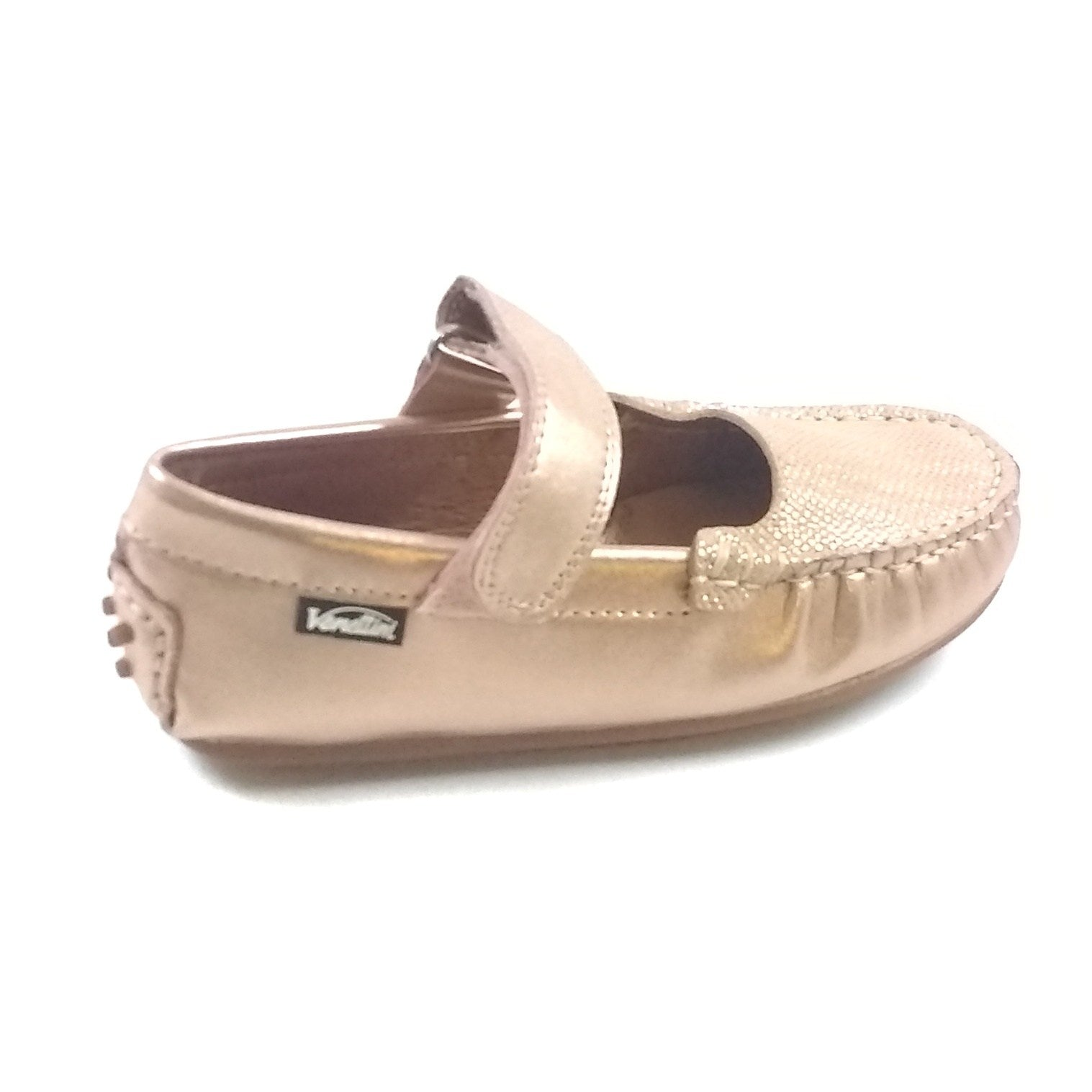 Venettini Rose Gold Velcro Moccasin