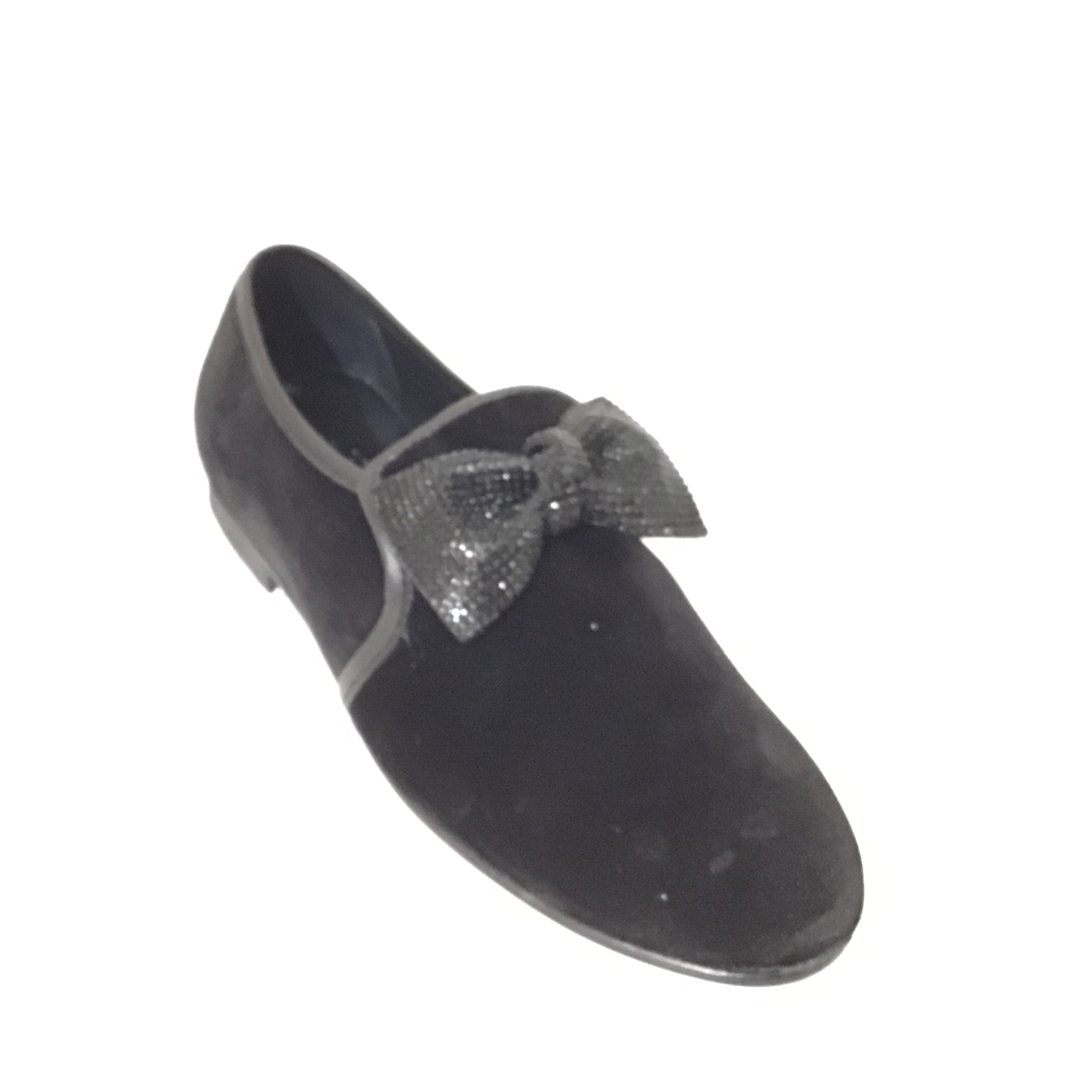 Luccini Black Velvet Slip On with Bow