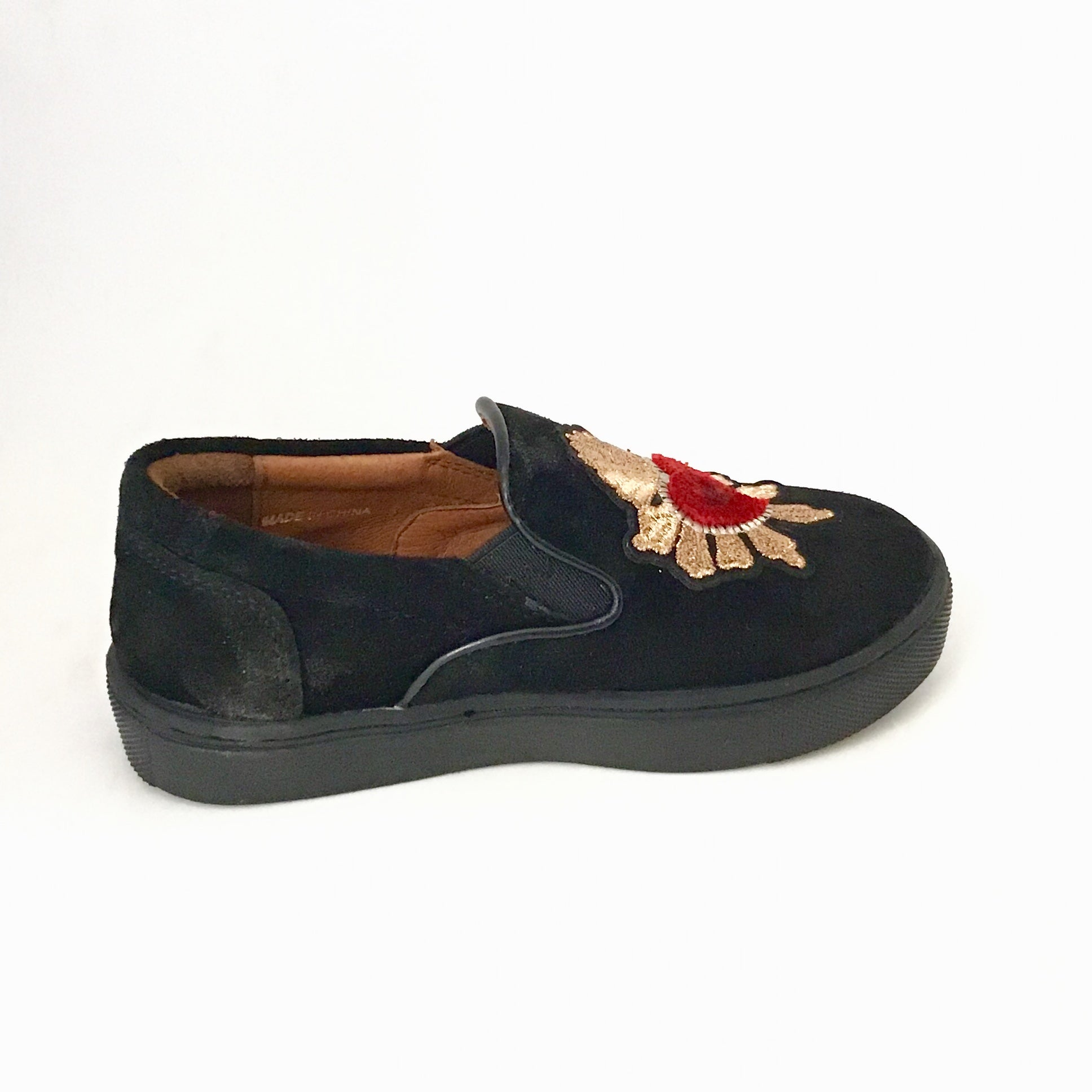Venettini Black Suede Sneaker With Heart