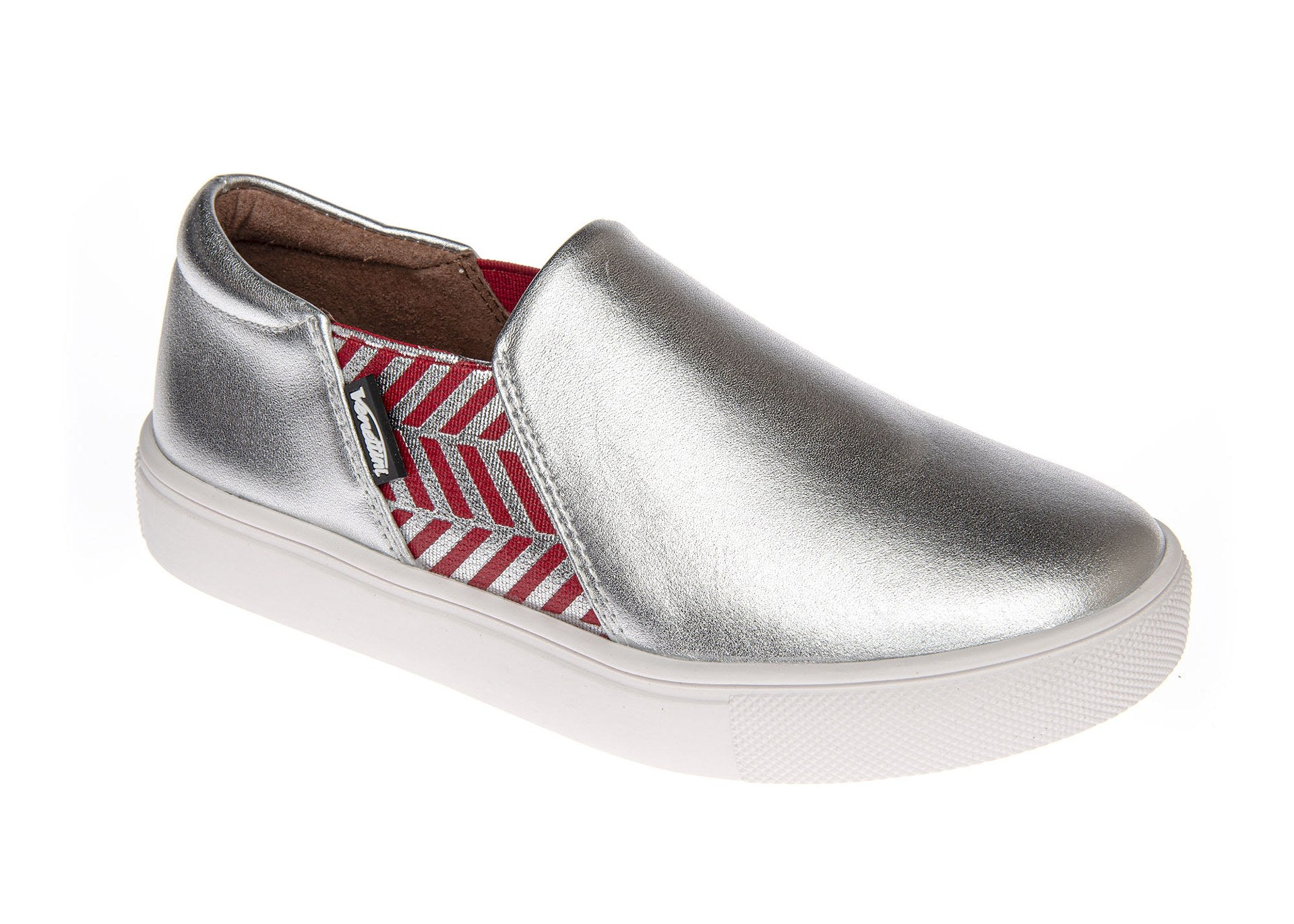 Venettini Silver Slip On Sneaker with Red Print Elastic