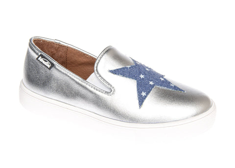 Venettini Silver Slip On Sneaker with Denim Star
