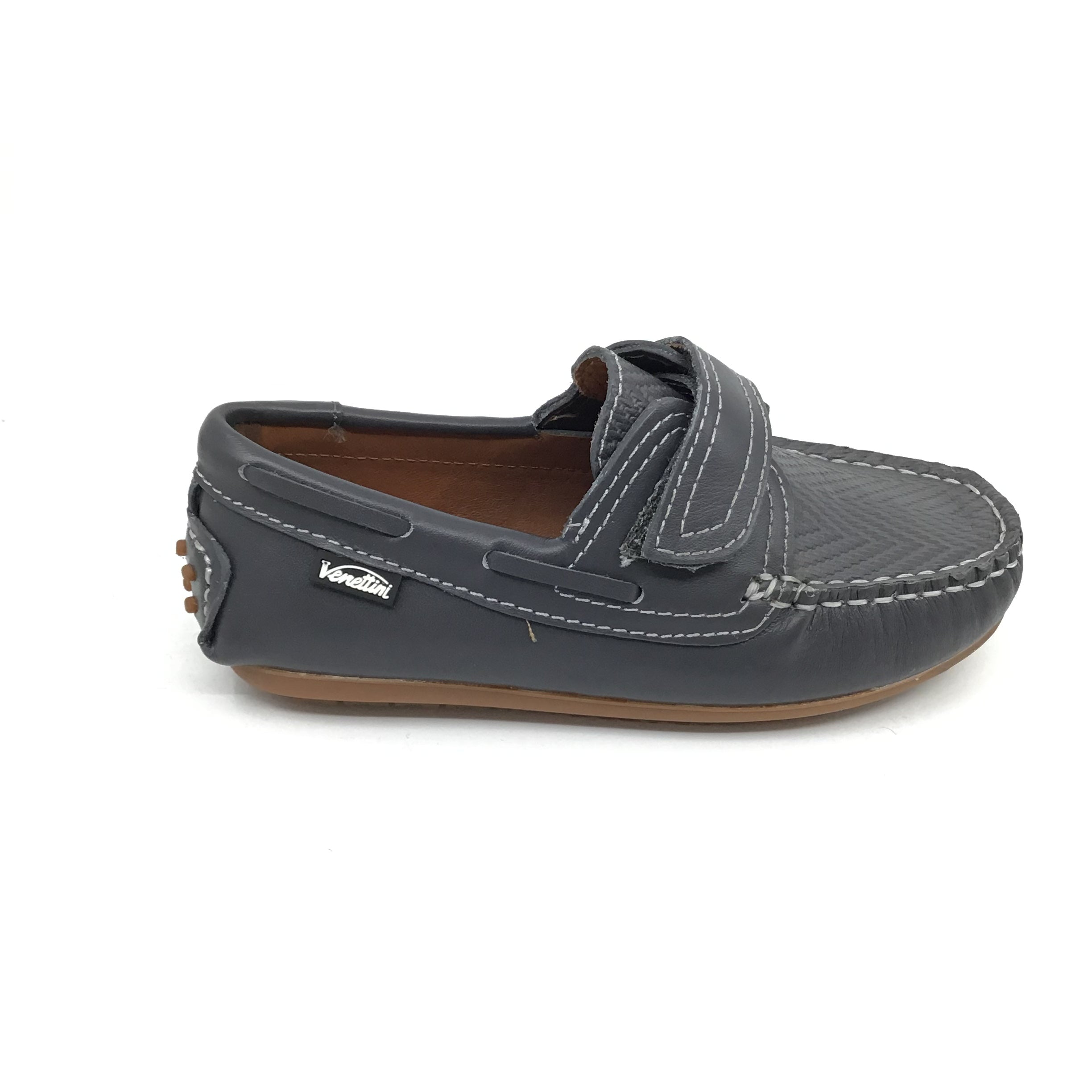 Venettini Navy Stitched Velcro Moccasin