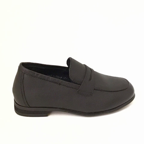 Pardo Black Textured Penny Loafer